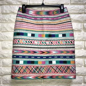 Etcetera embroidered colorful print pencil skirt